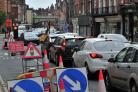 Delays due to roadworks in city street