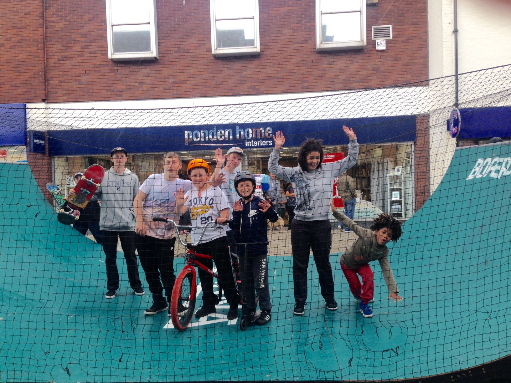 Skaters and riders at the event in a Bromsgrove's high street