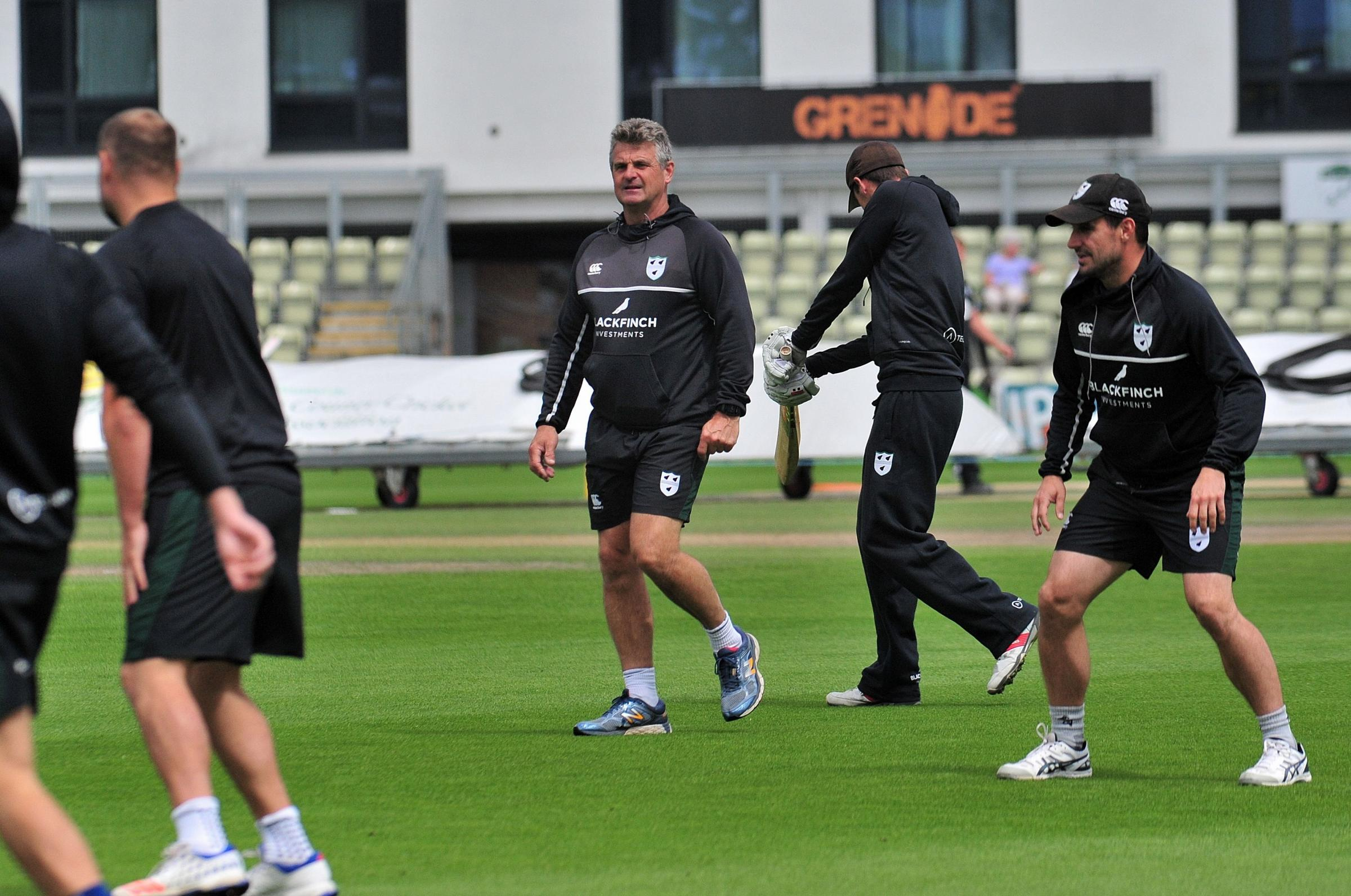 Director of cricket Steve Rhodes (centre) puts his Worcestershire players through their paces. Picture: JONATHAN BARRY