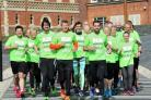 Marathon man Ben Smith with Steve Cram, and runners earlier this year. Picture by Jonathan Barry