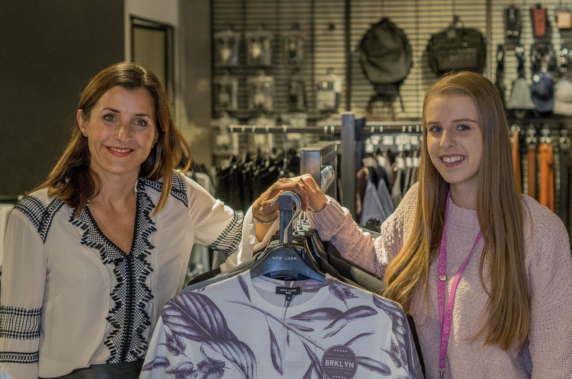 VACANCIES: Crowngate Centre Manager Erica Burlace with Charlie Jones, Sales Advisor from New Look Worcester.