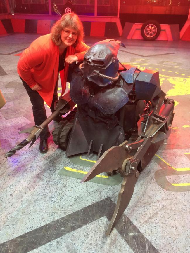 Lucy Rogers judging BBC's Robot Wars.