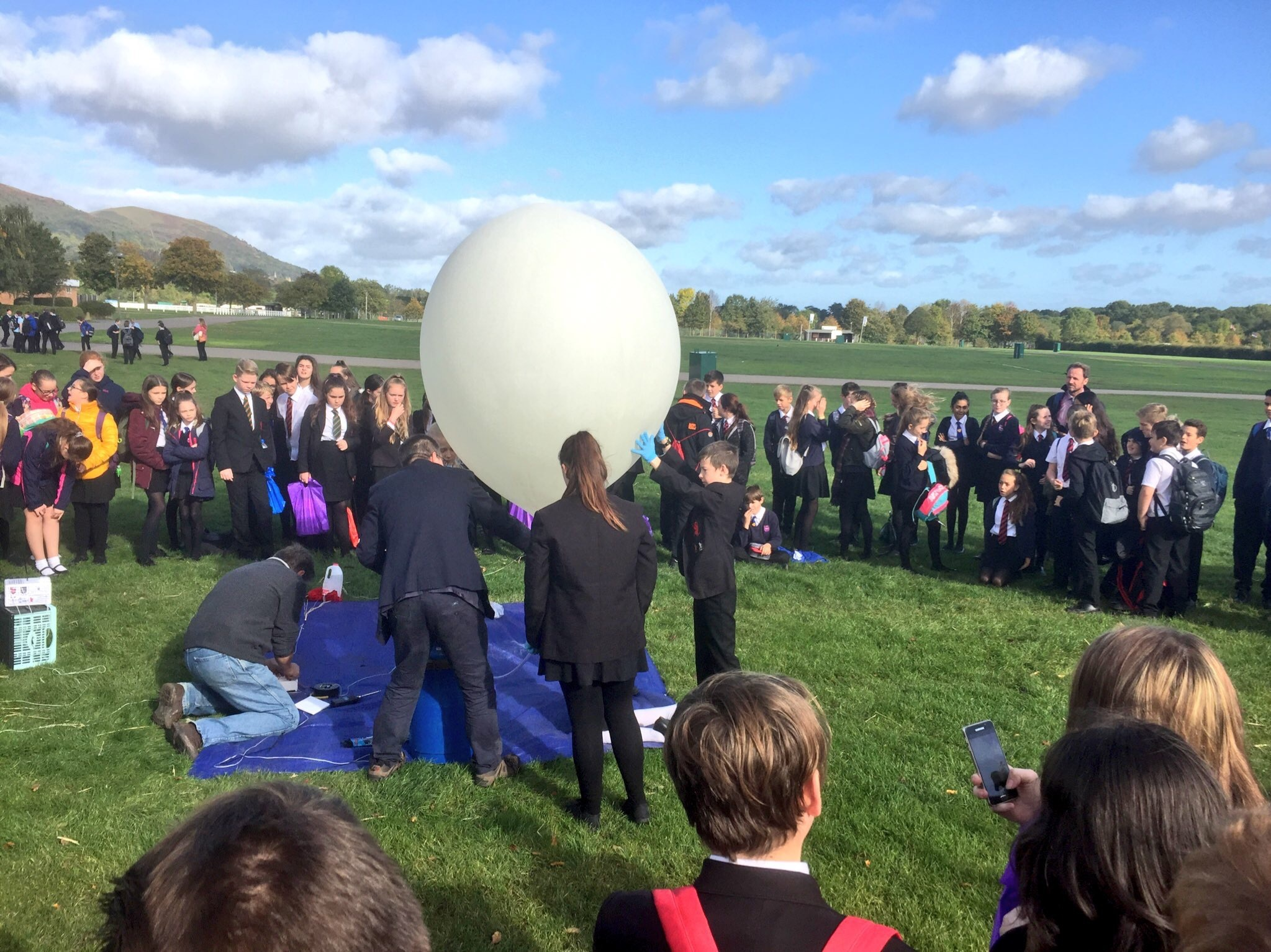 Launching the balloon.