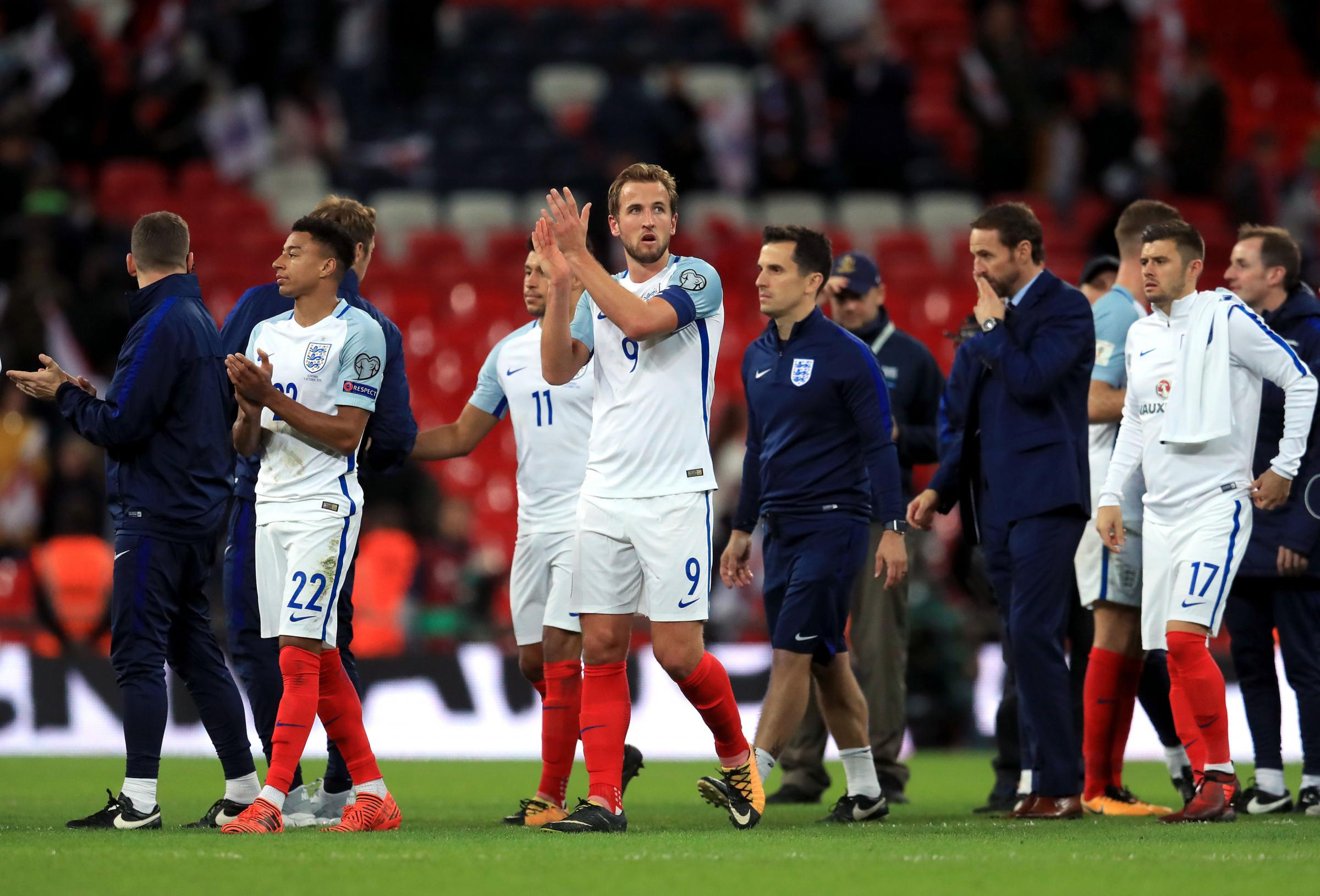 QUALIFIED: England players and staff applaud the fans after qualifying. Picture: Adam Davy/PA Wire.