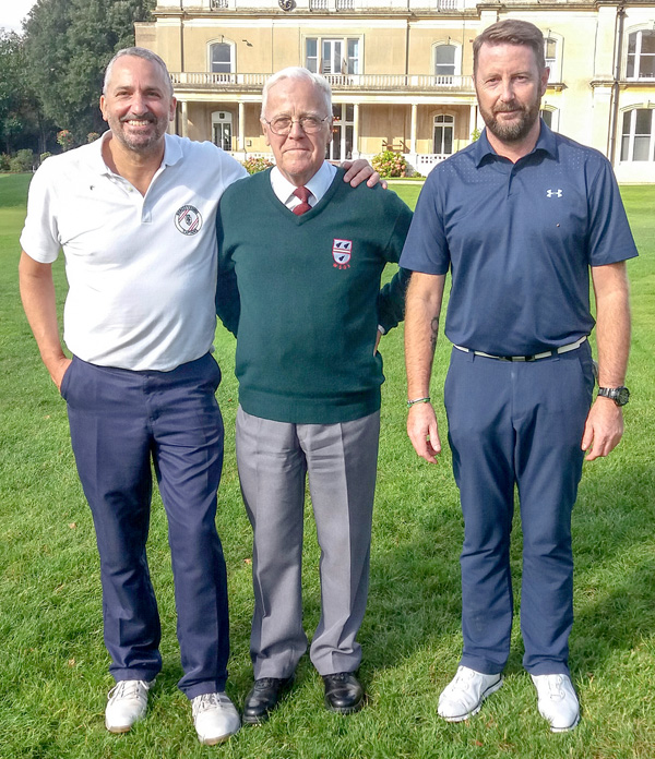 Worcester Golf and Country Club Scratch Cup winner Duncan Macpherson (right) with defeated Andy Baker (left) and match referee Alec Mackie