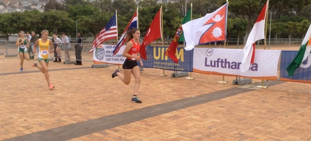 Malvern's Lottie Trevethan at the Laser Run World Championships in South Africa