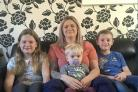 STRUGGLE: Emma Kings cannot afford to send Ethan (centre) to a nursery. Pictured with Molly (9), Charlie (8).