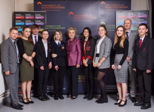 Mrs Clinton met local students and answered questions