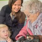 Worcester News: POPPY: Poppy, 2, with mum, Katy Swatton chatting to 99-year-old Beatrice Furlong.