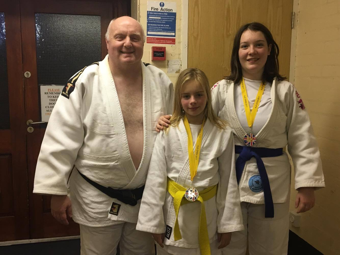 Gold medal winner Megan Skillern (right) and Tamzin Rudge with instructor Thomas Ewins