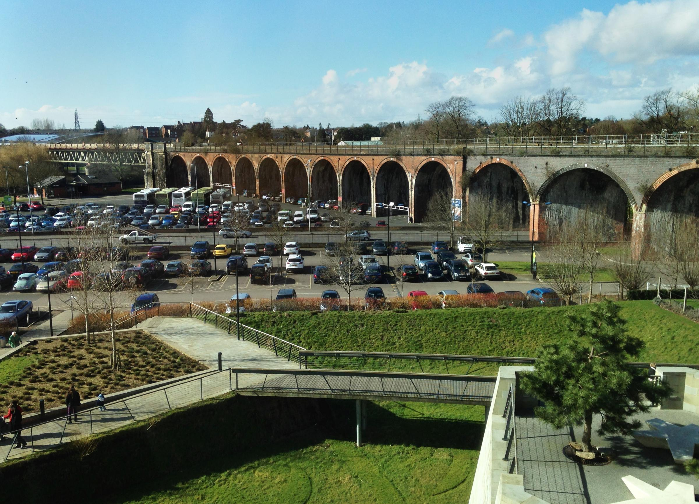 View of the Viaduct in Worcester from the Hive near where the sexual assualt took place.