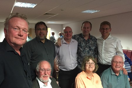OPEN MINDED: Worcester City Supporters' Trust chairman Dave Wood (top left) flanked by colleagues