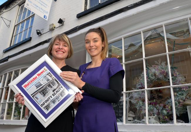 Winners of the 2017 Worcester News Best Festive shopfront, Infinity Beauty, Friar Street...owner, Judith Hall and therapist, Francesca Stride.