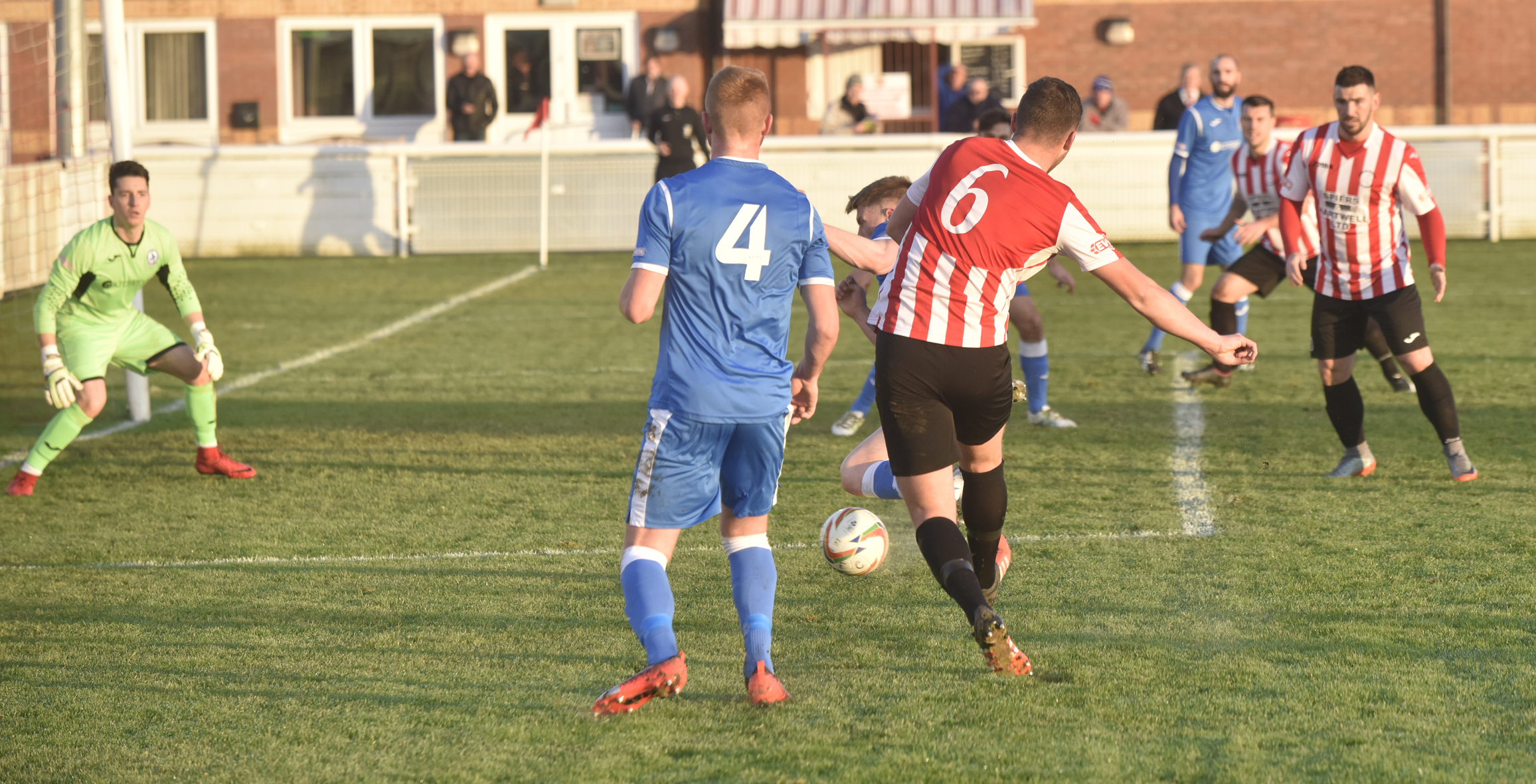 SCORER: Matt Liddiard on the attack in Evesham United's 2-0 win over Larkhall Athletic on Saturday. Picture: David Griffiths.