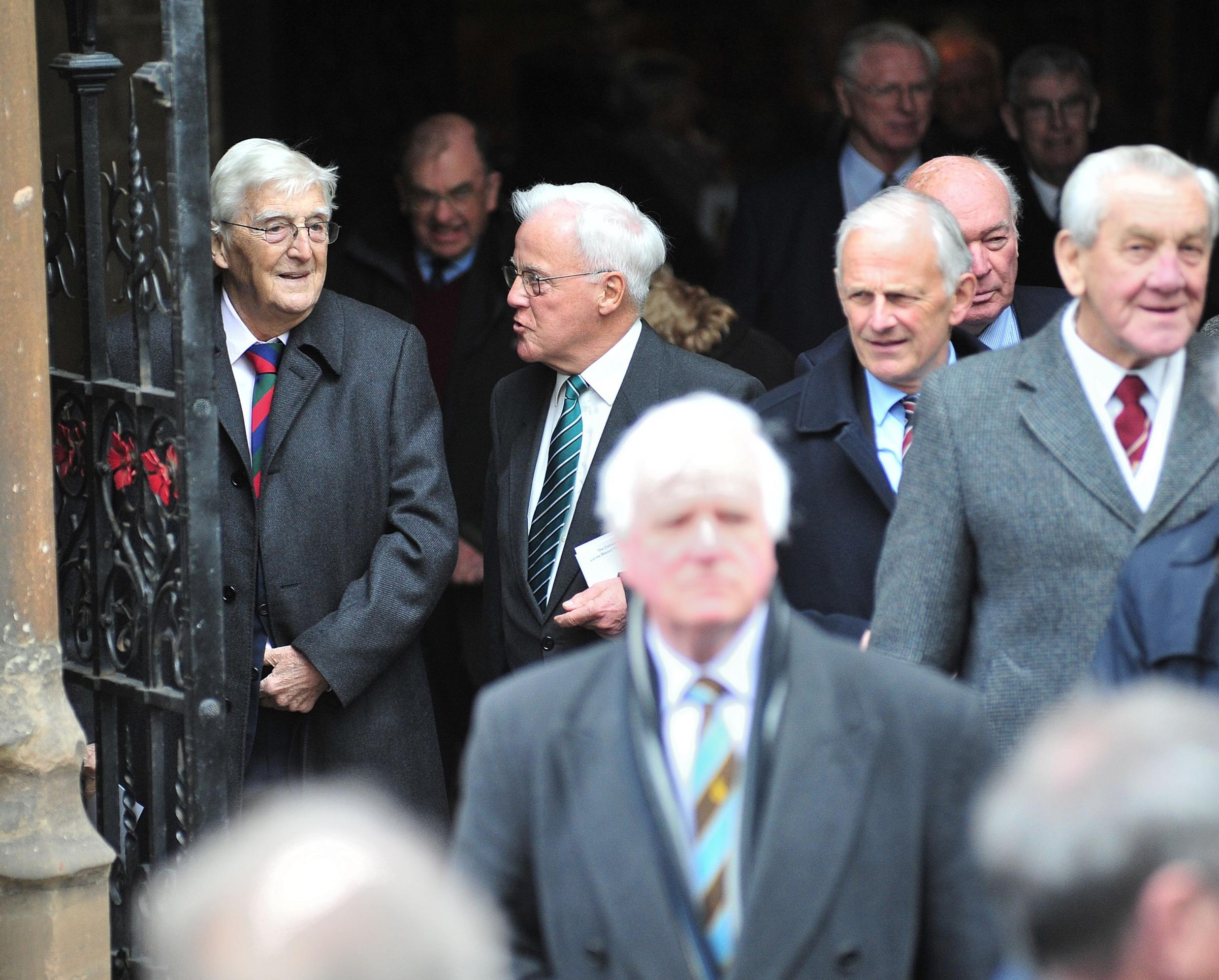Alec Mackie chats with Sir Michael Parkinson at the late Tom Graveney's service of thanksgiving