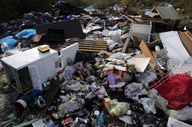 An illegal fly tip site. Photo credit: Chris Radburn/PA Wire