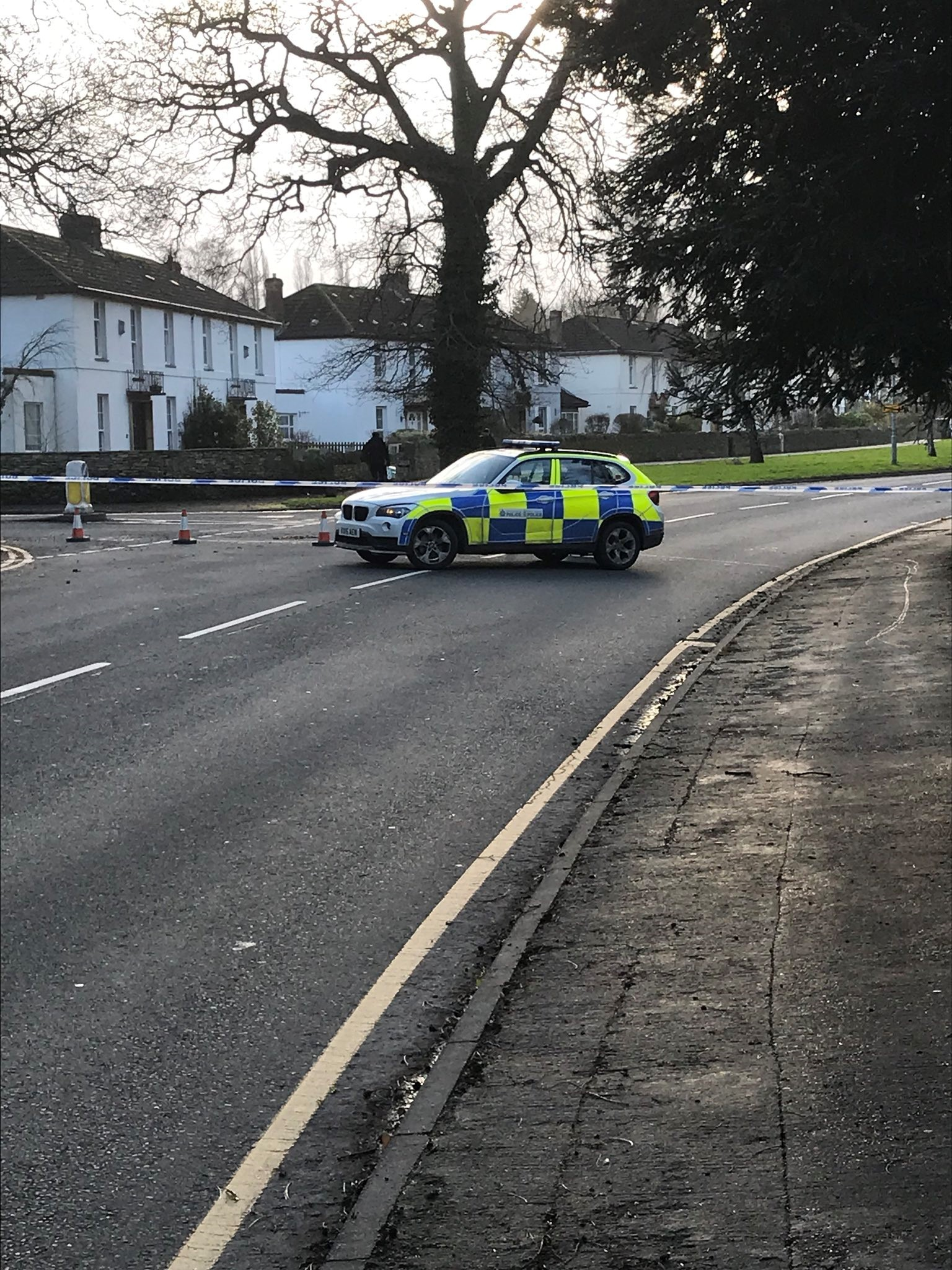 A road block is in place. Photo: @EveshamCops