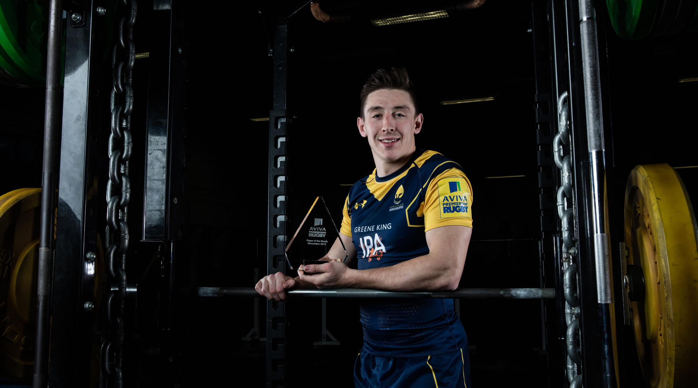 Josh Adams shows off his award. Picture: Pinnacle for Aviva