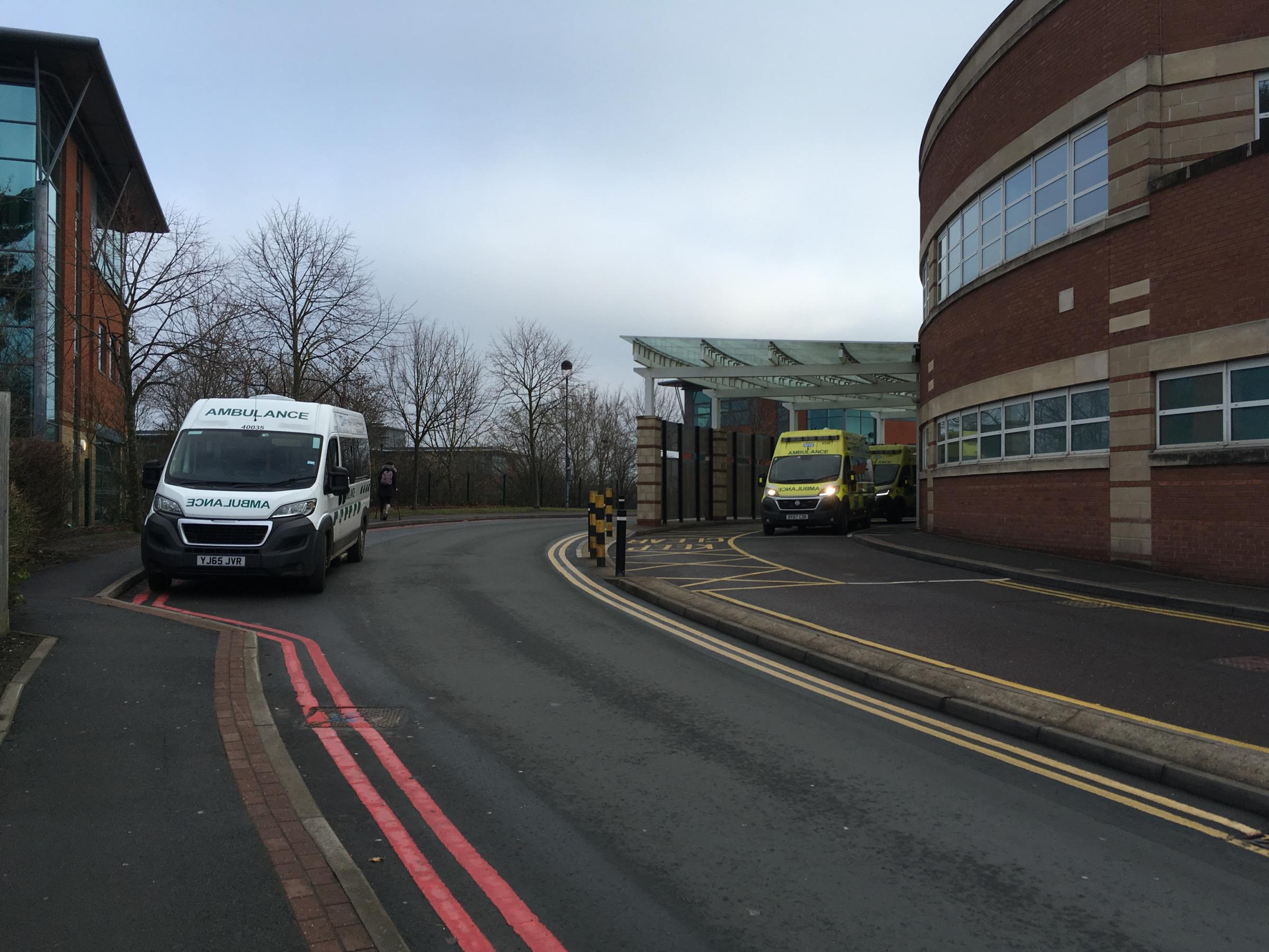 BUSY: Ambulances at Worcestershire Royal Hospital during a busy period last year