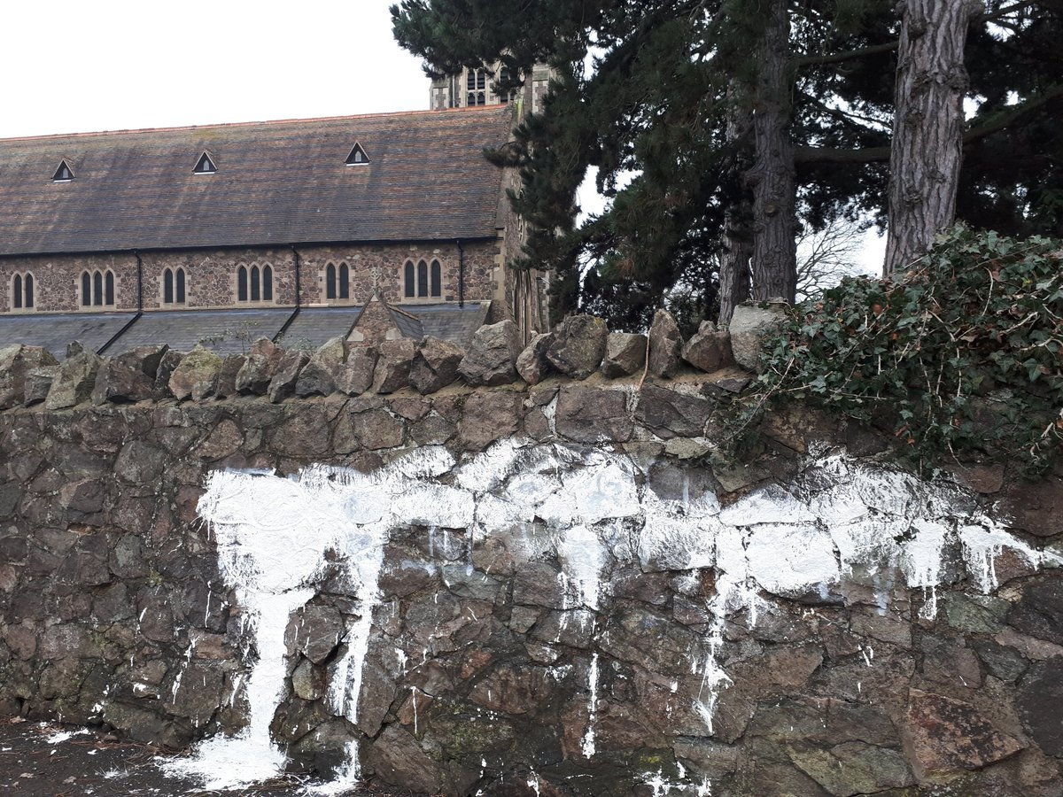 Vandals threw white paint over the boundary wall of St Matthias Church in Malvern. Photo: @MalvernCops
