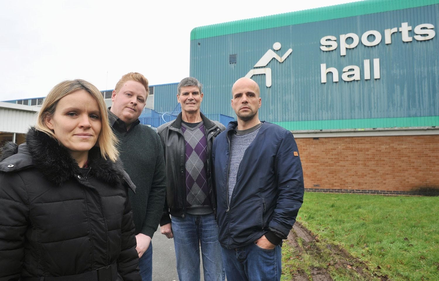 Save Our Sports Hall campaigners Louise Humphries, Cllr Chris Bloore, Peter Rendell and Wayne Humphries