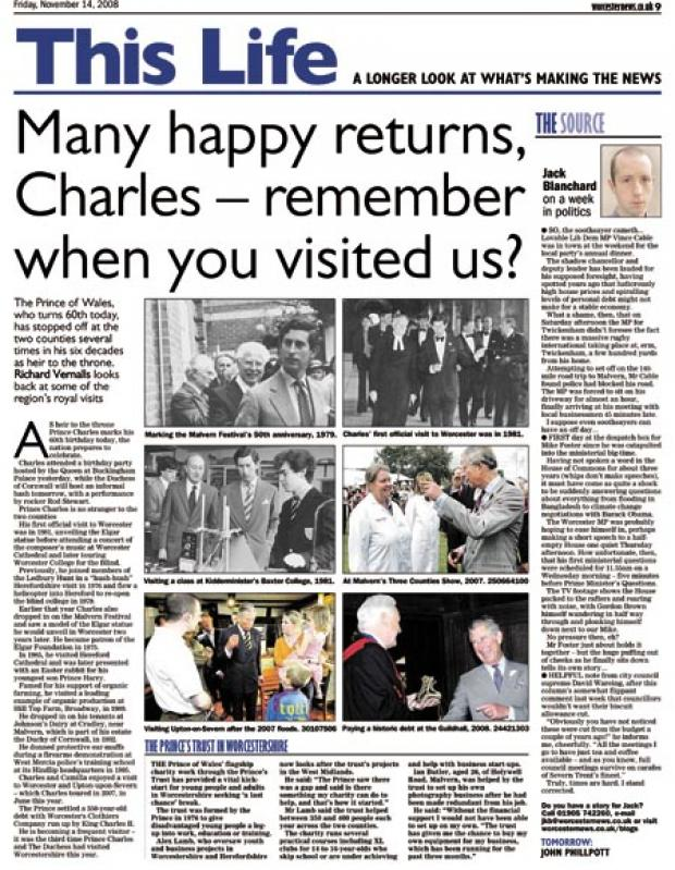 Worcester News: Many happy returns, Charles - remember when you visited us?