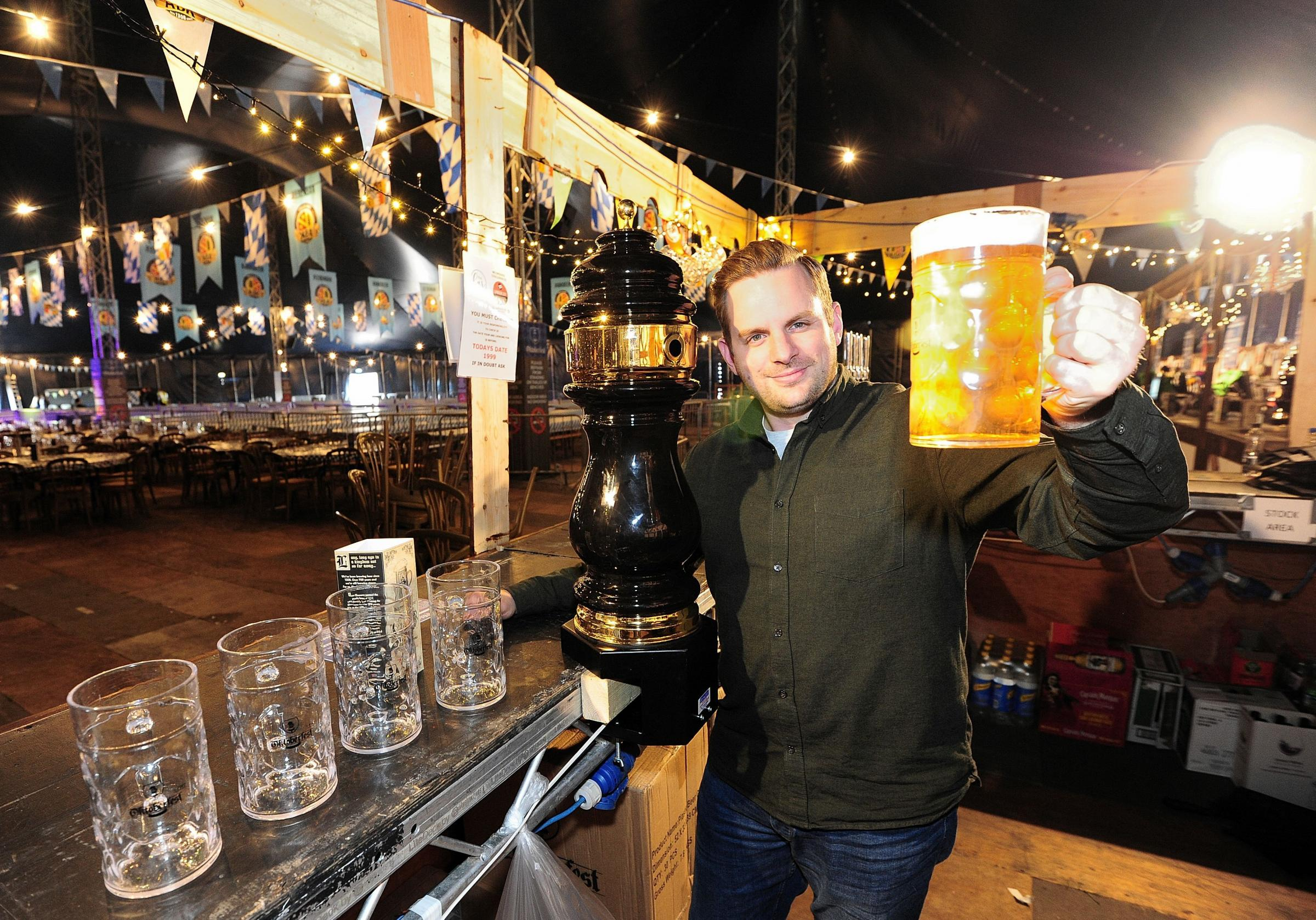 Event director Martin Barker preparing for last year's Oktoberfest at Worcester Racecourse, Pitchcroft. Pic Jonathan Barry