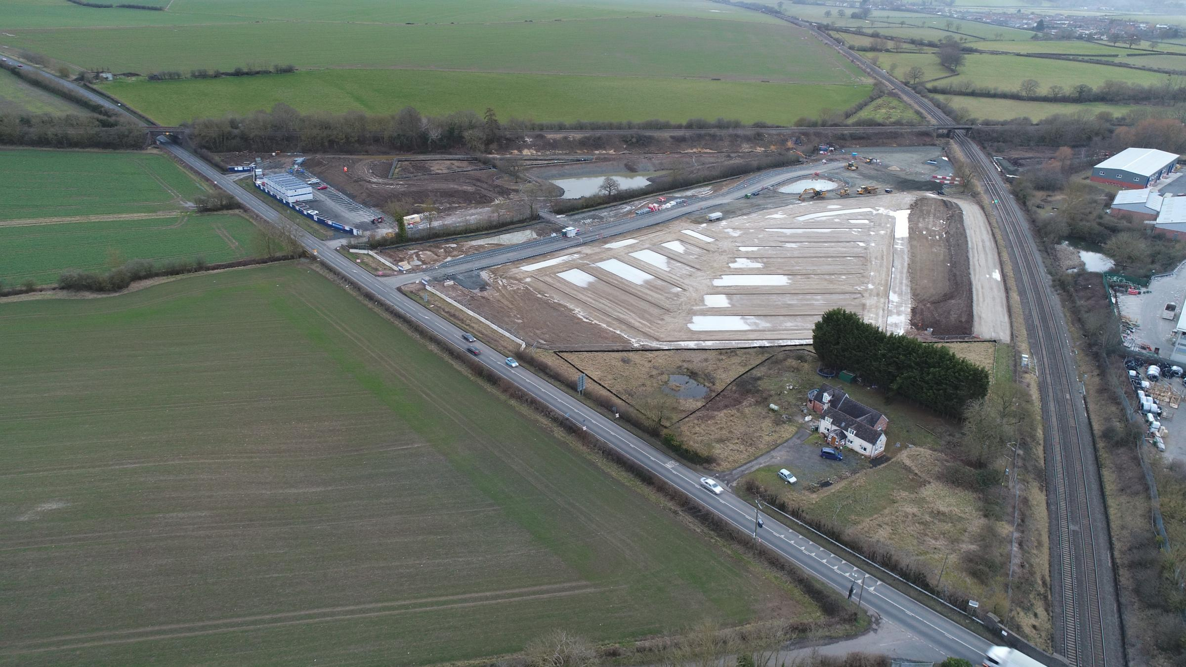 An aerial view of the new Worcestershire Parkway site