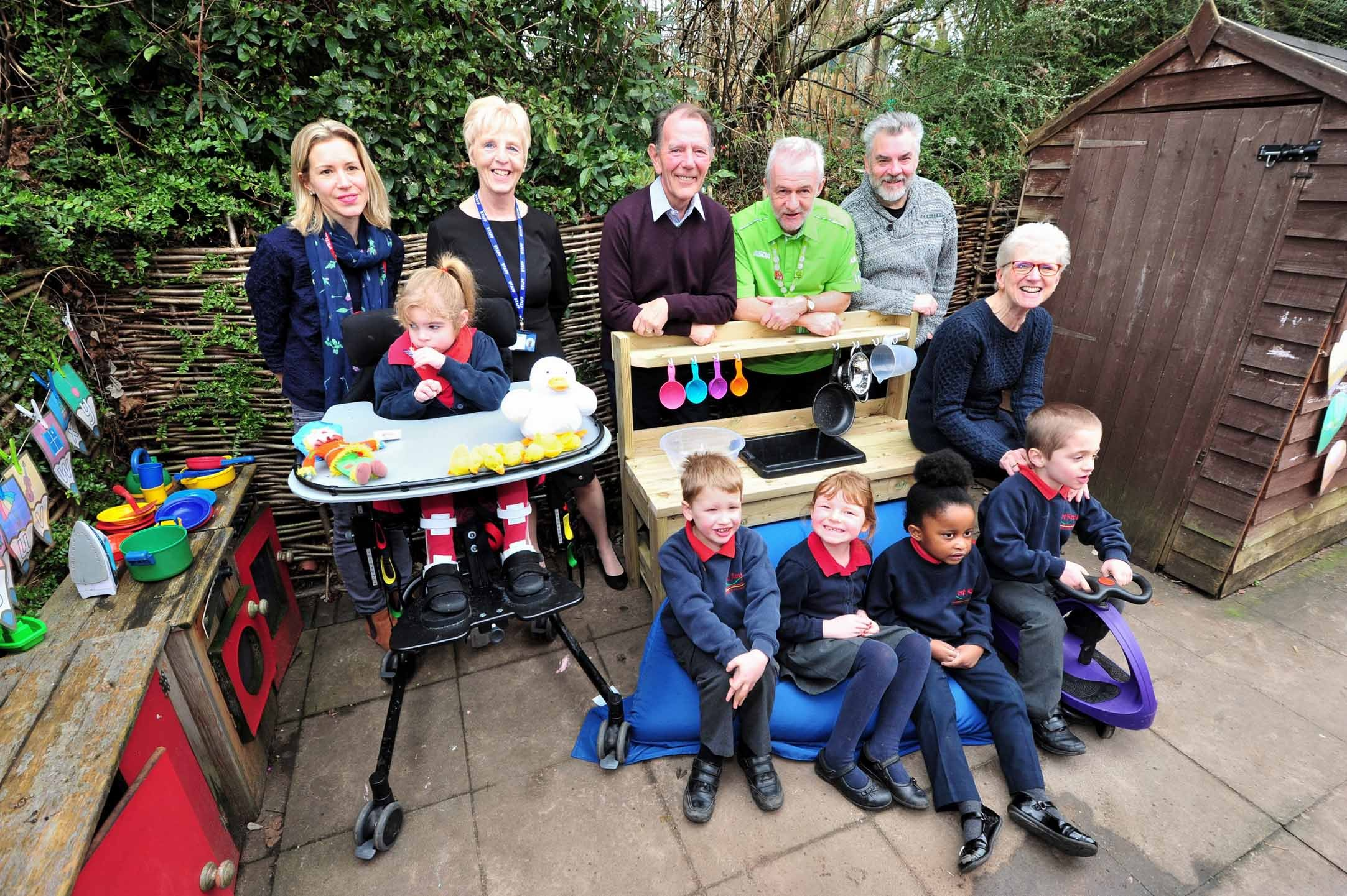 Fundraisers, Parents and Friends of Fort Royal School, Worcester, with pupils and some of the play equipment they have bought after their fundraising activities. (back left to right) Annie Bird, Margaret Jones, Mike Eley, John Horsley, Denis Chamberlain,