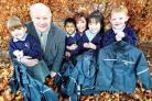 Councillor Bob Peachey and Perry Wood Primary and Nursery School headteacher Ange Beddow with youngsters. Picture John Anyon 48080601