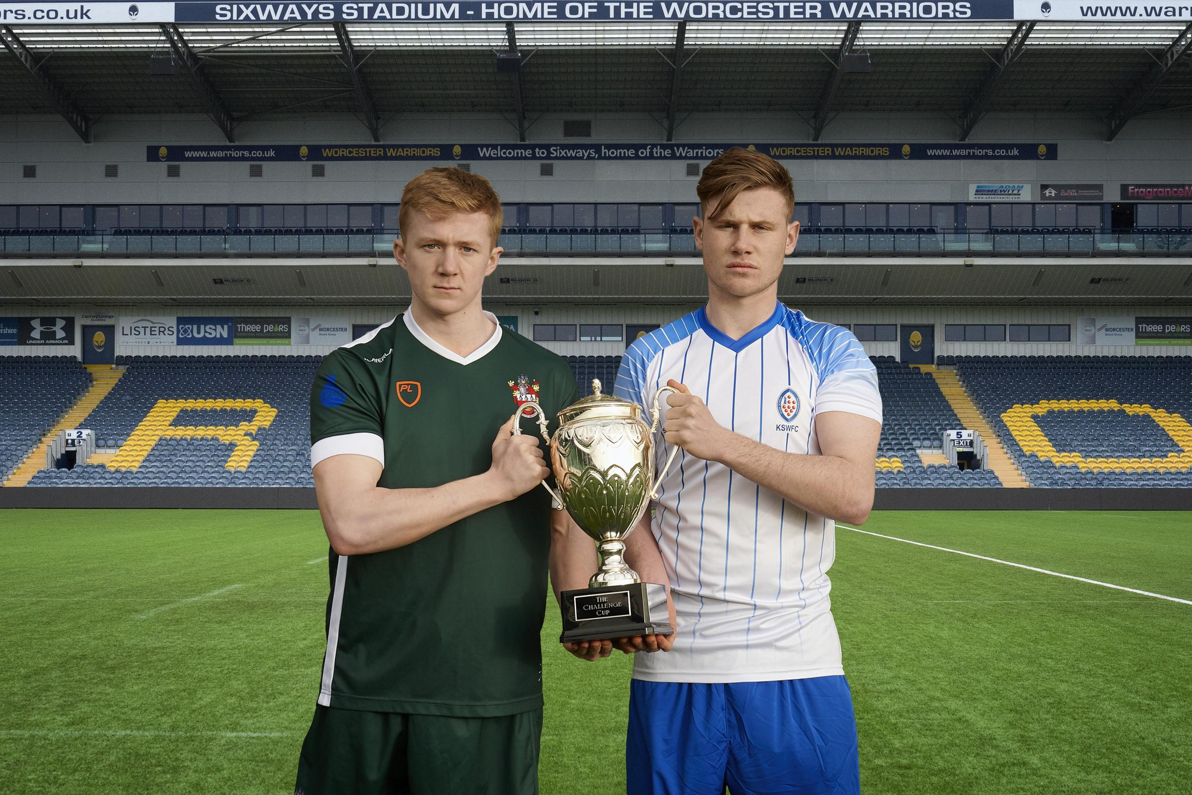 Royal Grammar School Worcester captain Max Hawksworth (left) and King's School Worcester skipper Cameron Mathewson with the Challenge Cup. Picture: CHRIS HAM PHOTOGRAPHY