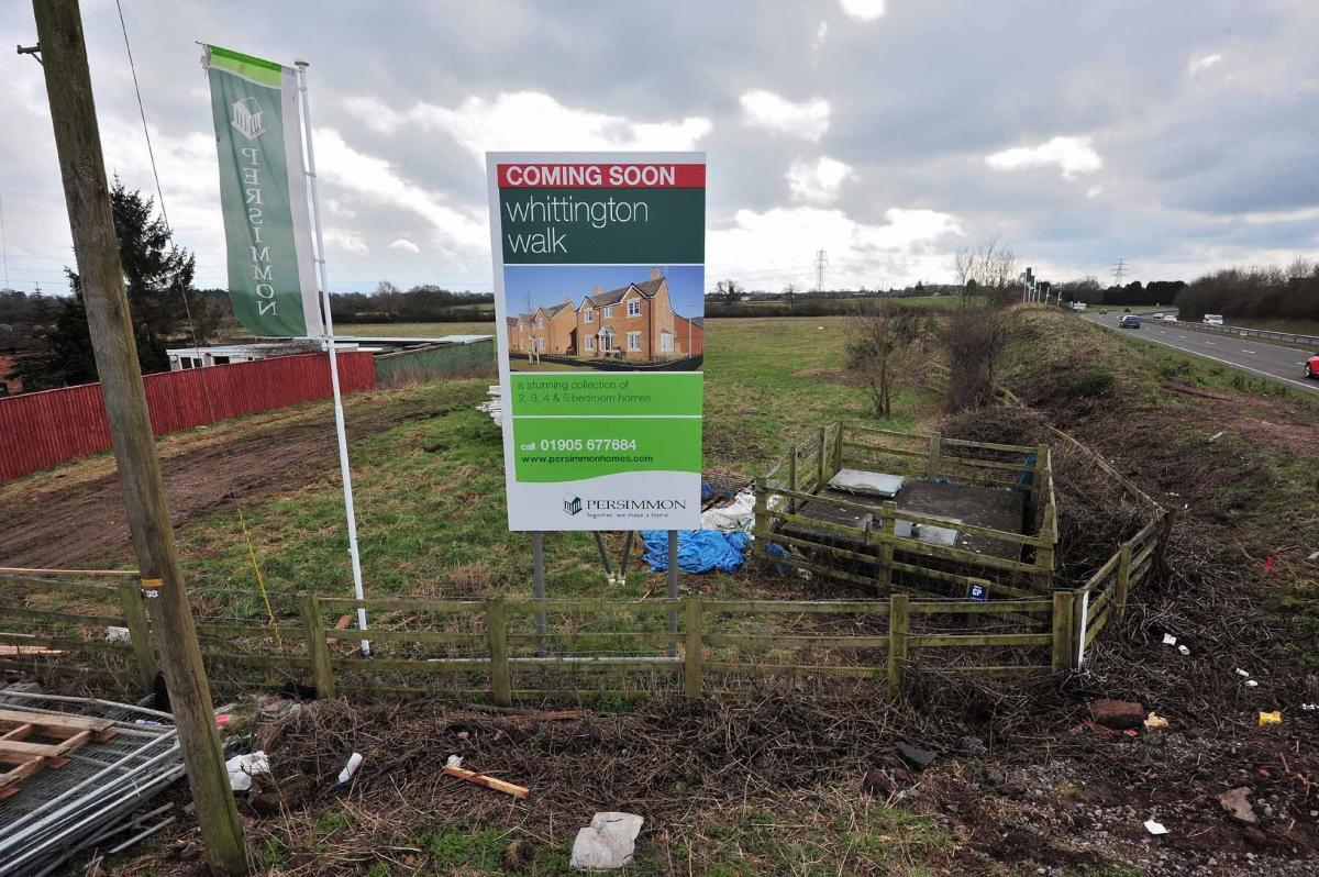 View of the land at the rear of Hill House, Swinesherd Way, Spetchley, where the first phase of building work has started. Photo: Jonathan Barry