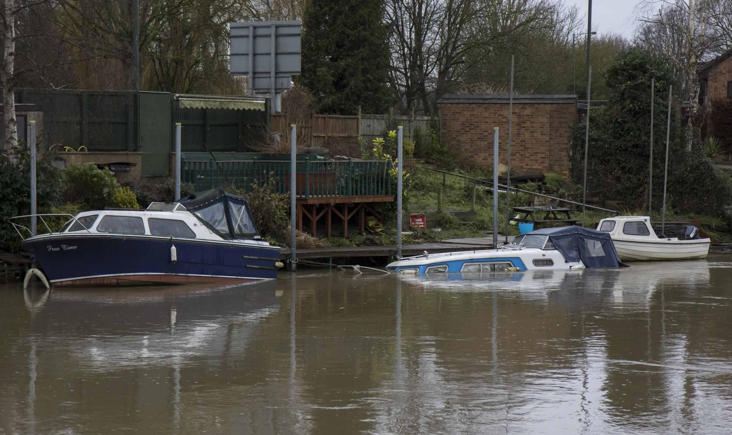 RISING: A picture of a submerged boat in the River Avon in Evesham.