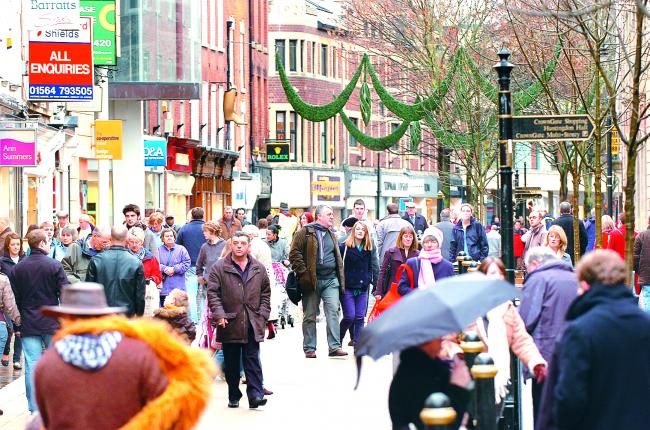 BUSY: Worcester's High Street during the day