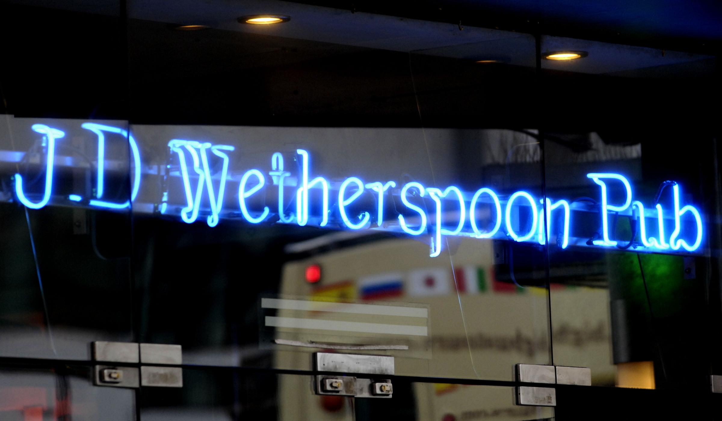 File photo dated 15/07/2015 of a Wetherspoon sign, as sales at pub chain were boosted by warm summer weather over the past three months, as the pub chain's Brexit-backing chairman launched another invective aimed at Remainers. PRESS ASSOCIATION Photo.