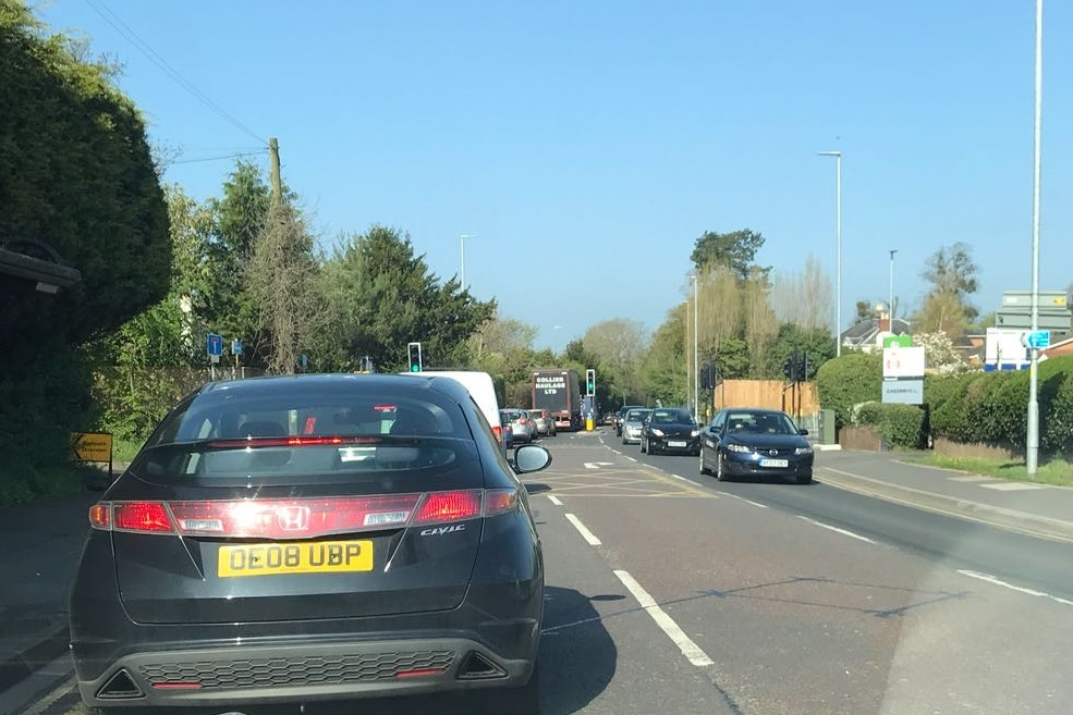 DELAYS: Queues are building up on London Road because of tree trimming near Waitrose.