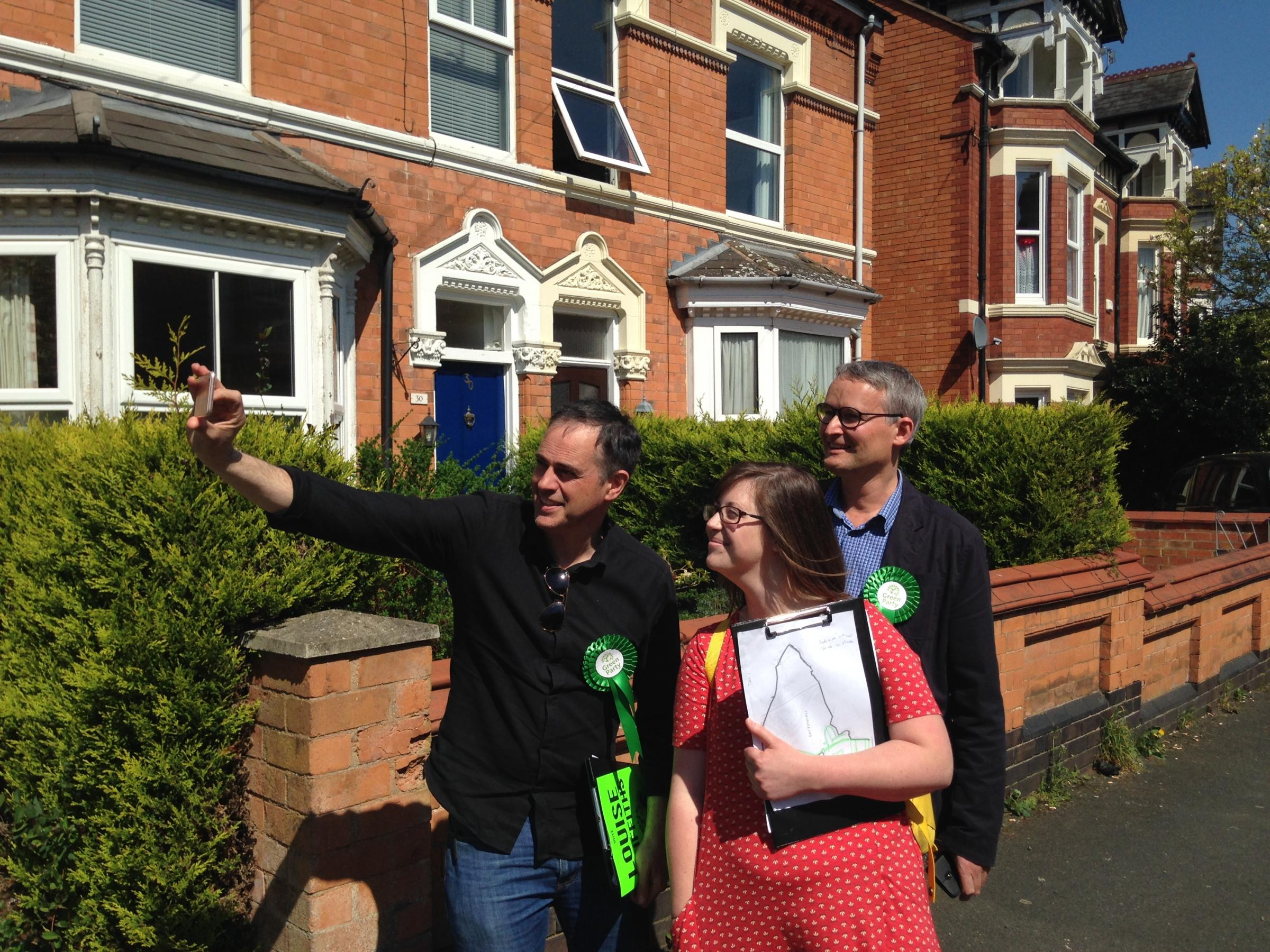 Green party co-leader Jonathan Bartley (left) and candidate Louise Griffiths and councillor Louis Stephen