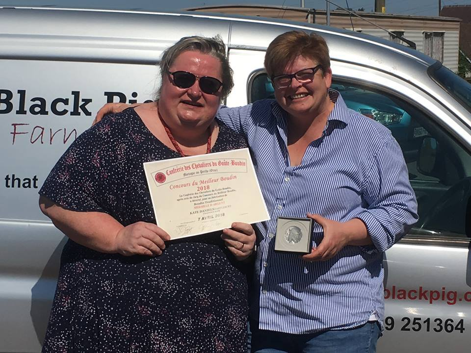 WINNER: Mary-Anne Boermans (left) and Kate Daniels, whose black pudding won silver medal at a prestigious French festival. Picture: Little Black Pig.