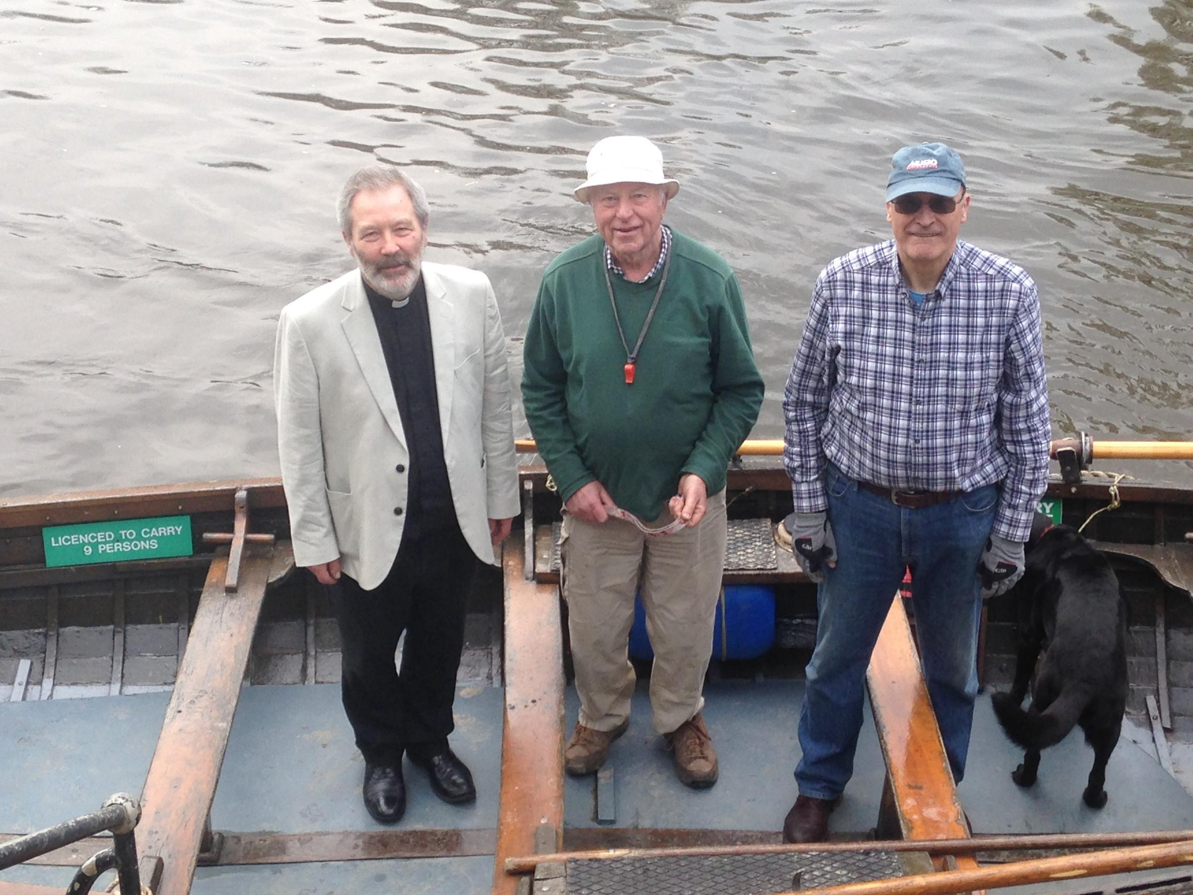 OPEN: The Cathedral Ferry re-opened for summer. From left to right: Revd Canon Alvyn Pettersen, Mark Glossop and Stephen Cope, ferryman for the day