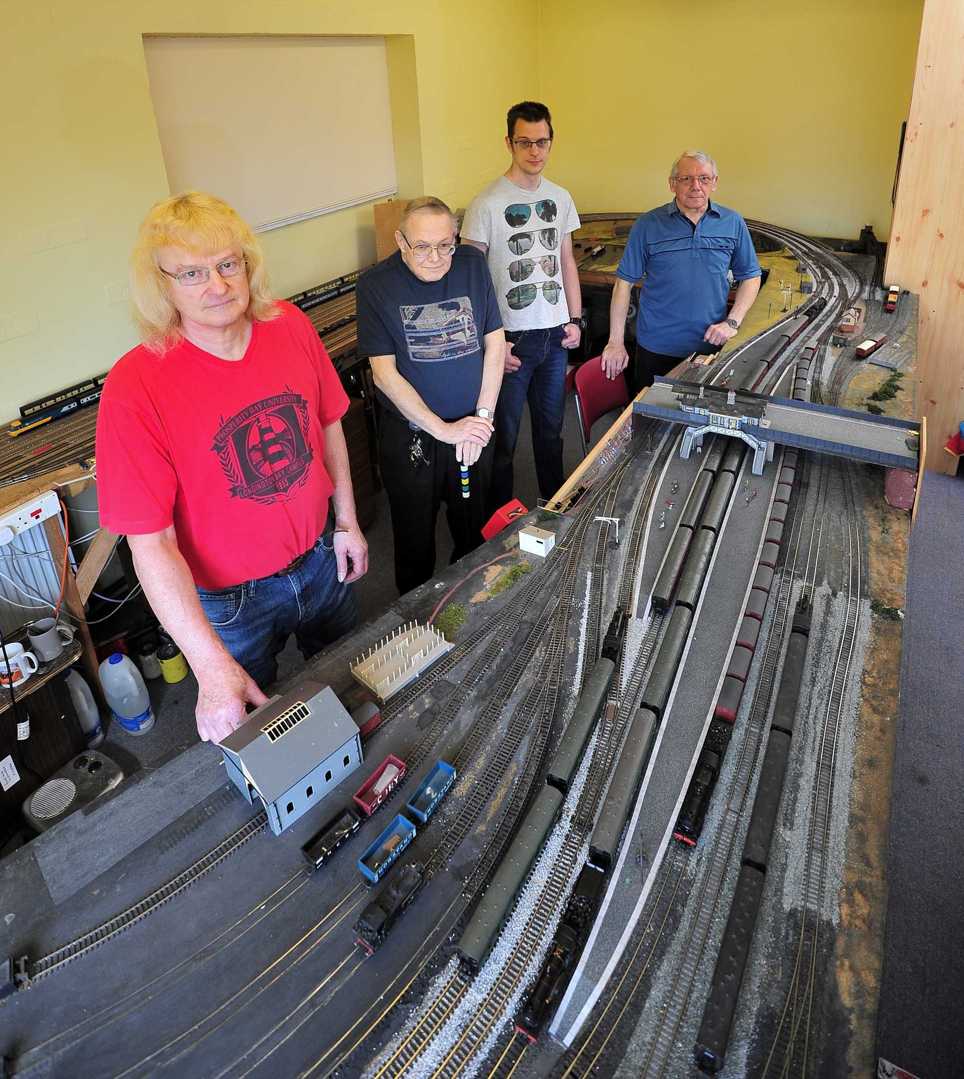 Members of the Worcester Model Railway Club, who have been told they must move from their current base at the Rainbow Hill Centre, Astwood Road, Worcester. David Lawrence, Dave Pitt, Phil Bruce, Barry Reynolds. Pic Jonathan Barry 20.4.18.