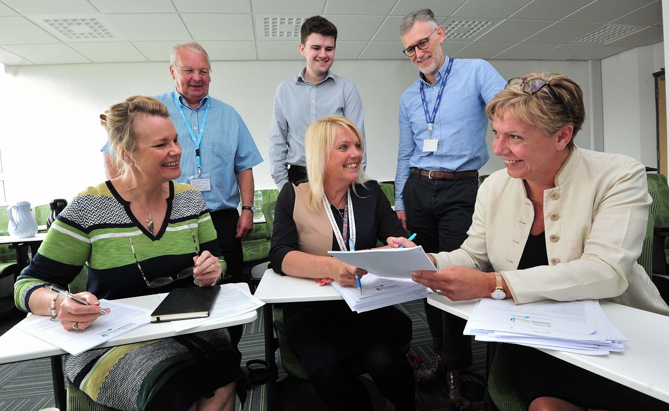 CHOICES: The Judging Panel for the Worcester News Education Awards 2018, pictured at Worcster University St Johns Campus. (Front from the left) Sue Griffiths, Denise Hannibal, Liz Holt. (Back from the left) David Flint, Jack Barnett, Carl Arntzen. Pic Jon