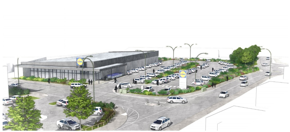 An artist's impression of the proposed Lidl supermarket in Droitiwch. Picture: Whittam Cox Architects