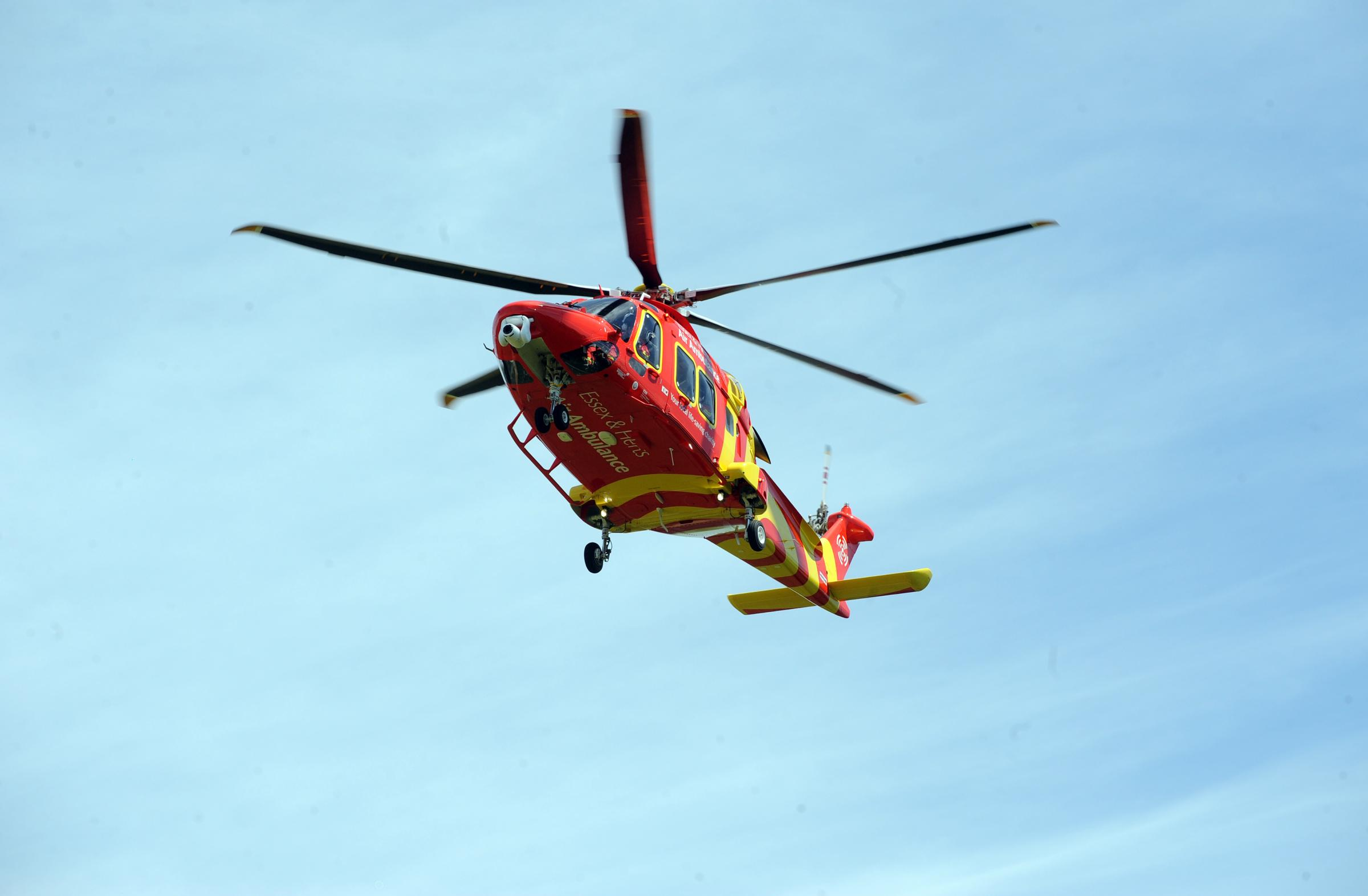 The Air Ambulance was called to take the man to hospital