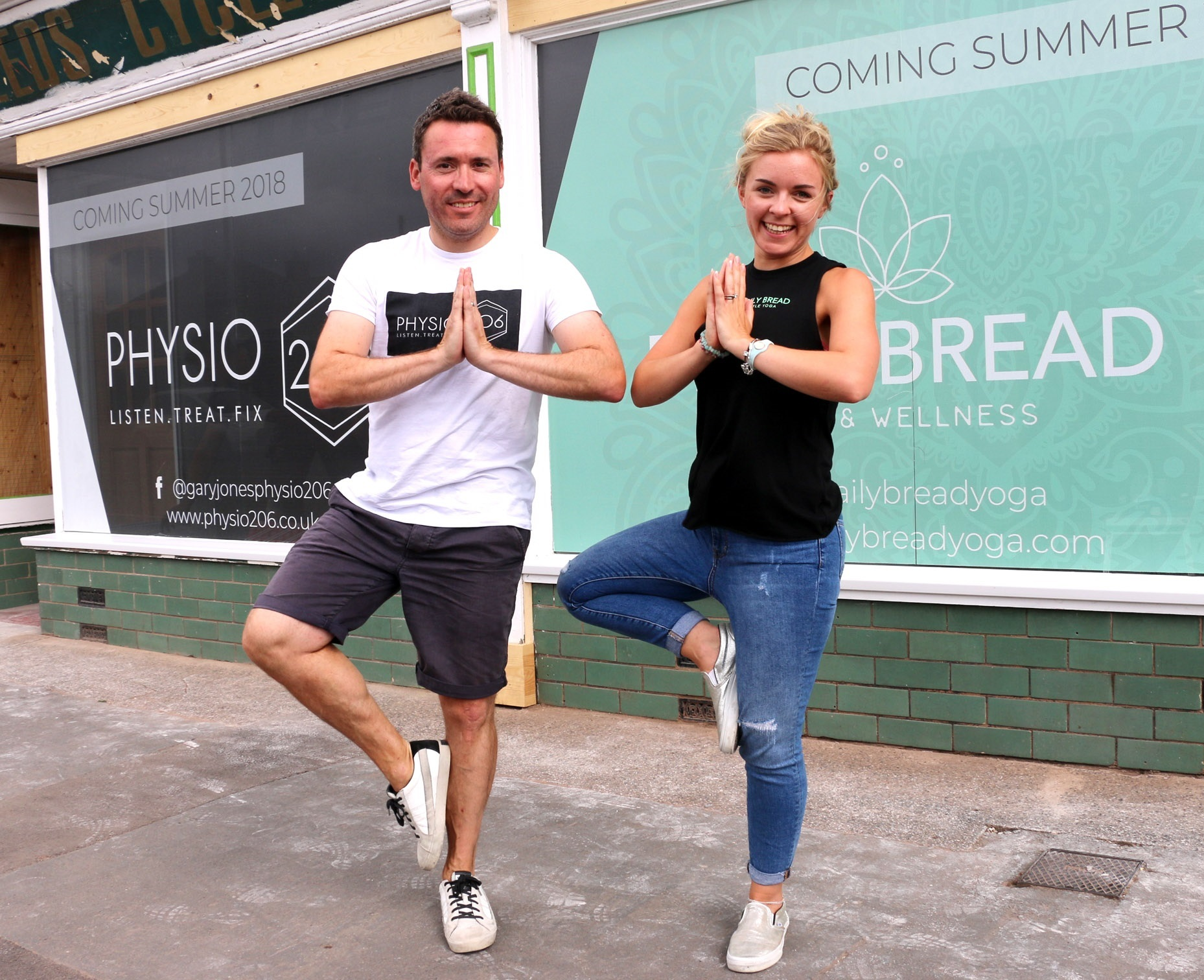 Gary Jones, of Physio 206, and yoga studio owner Faye Jones