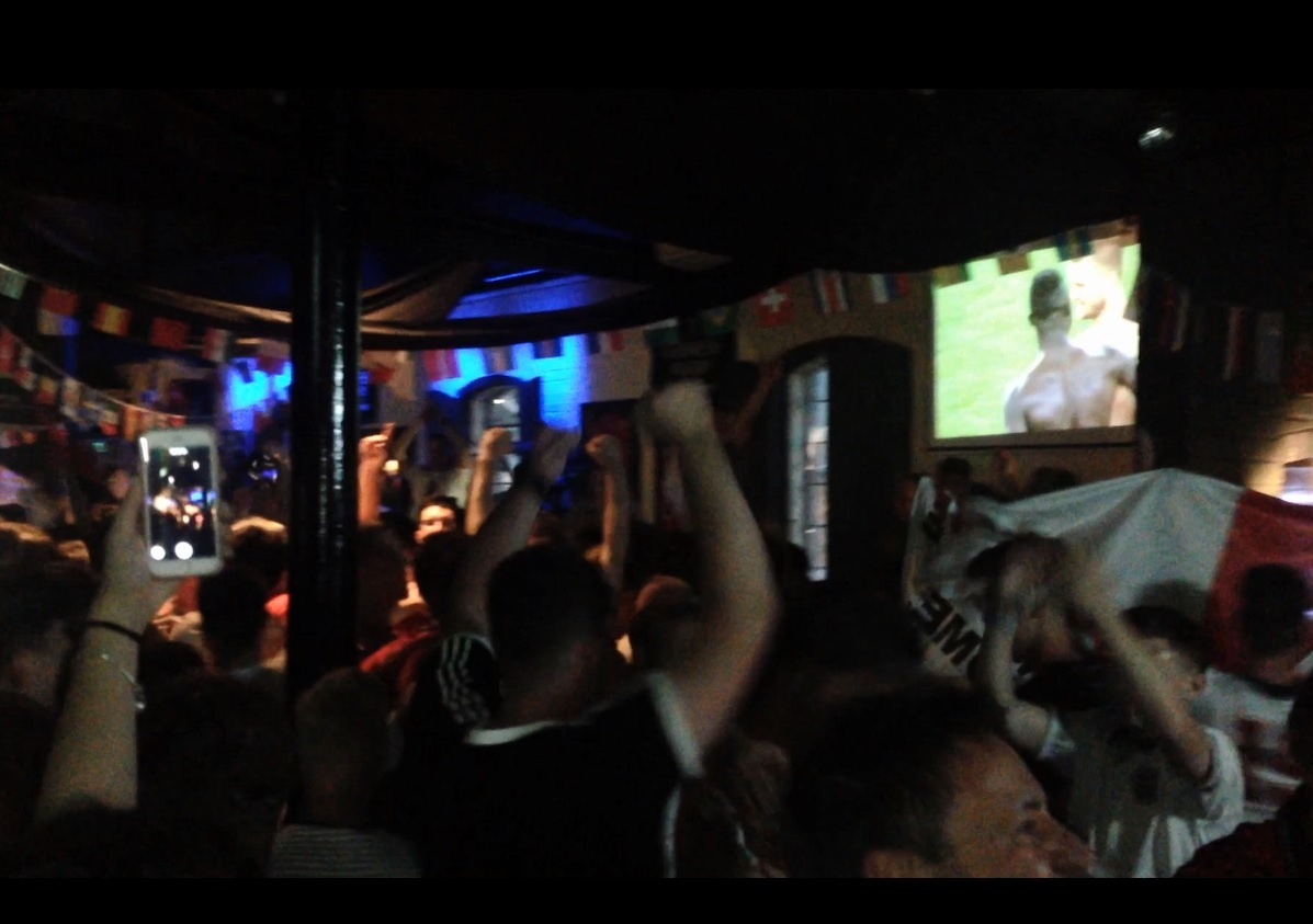 JOY: Fans in Worcester's Mode bar celebrating England's win over Colombia in the World Cup