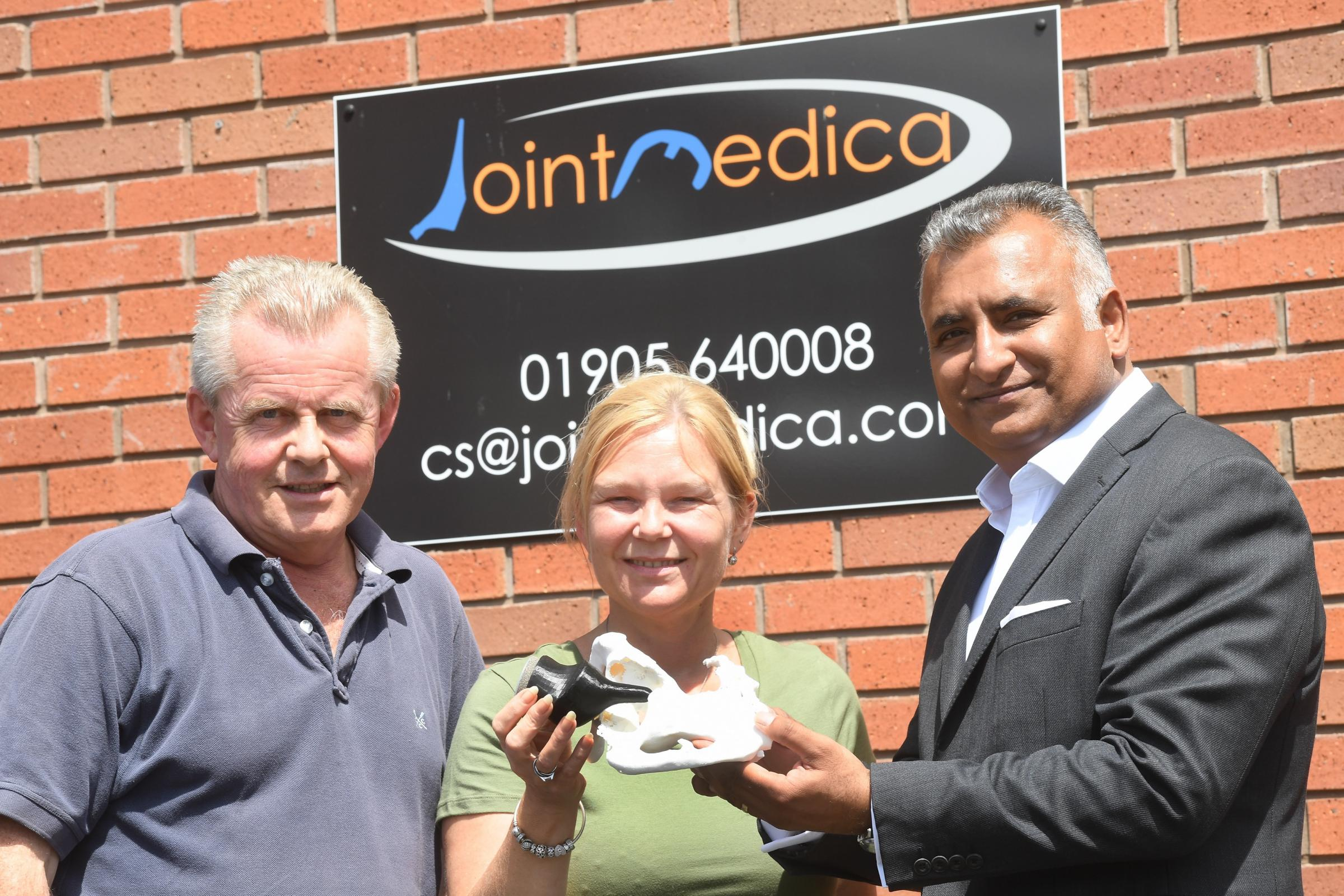 GRANT: Roger Ashton and Dee Foster, of Joint Medica, with Suk Aulak of Moore Stephens