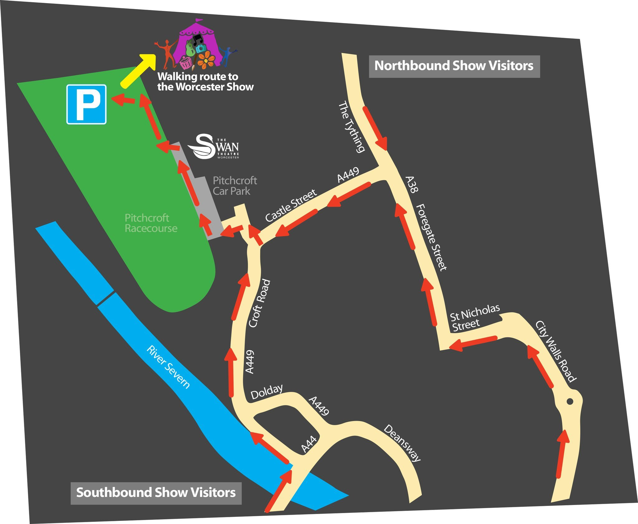 MAP: Shows access to parking for the Worcester Show