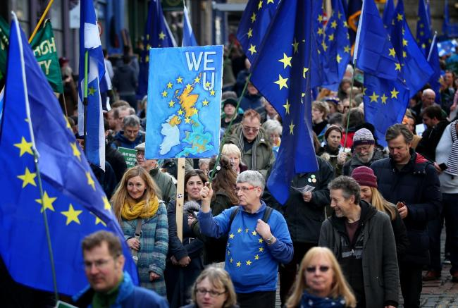 Demonstrators at a Brexit protest march in Edinburgh, which is demanding a final vote on the Brexit deal..