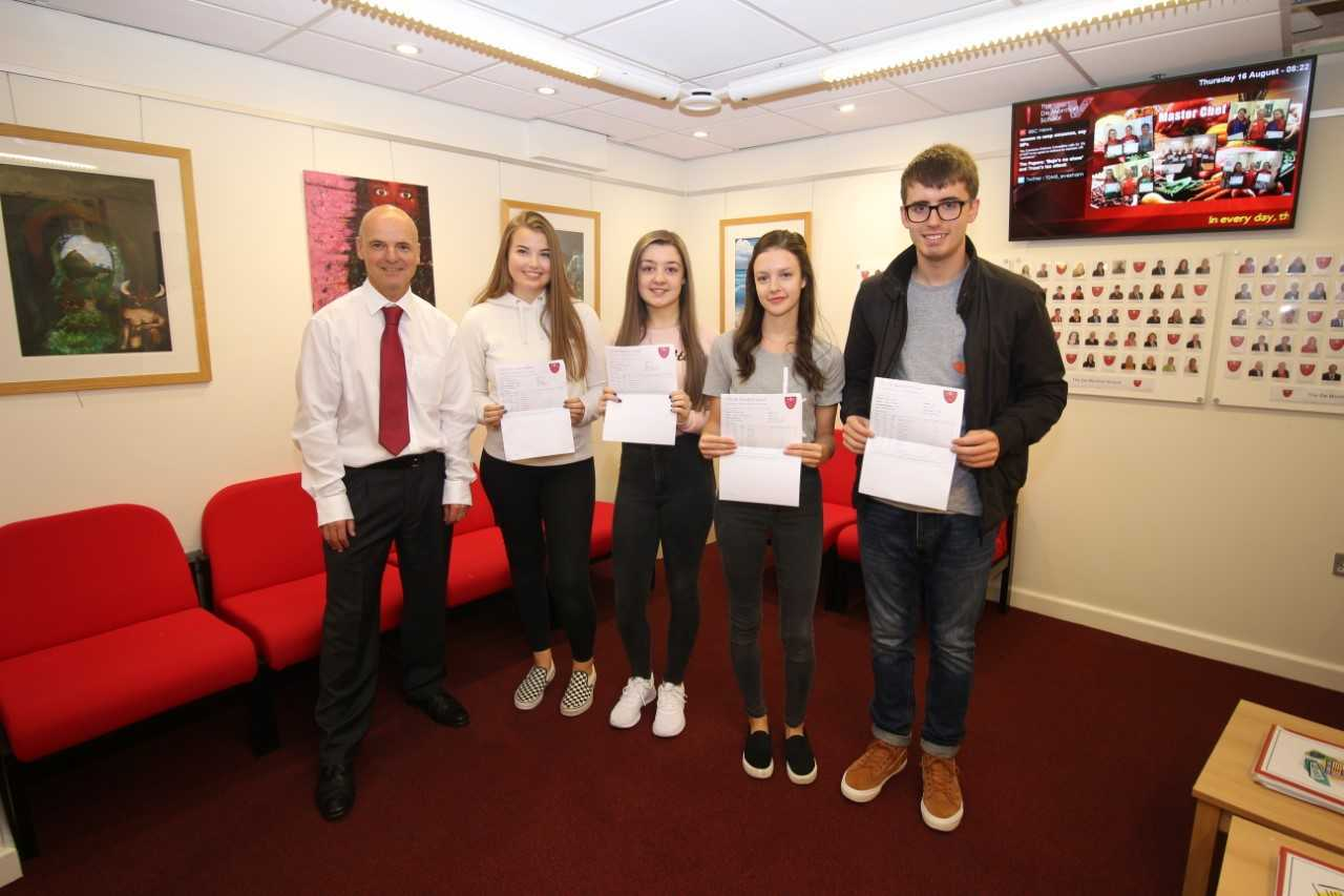 CELEBRATIONS: Students at A level results 2018: The De Montfort School get thier A level results