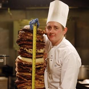 Worcester News: Chef Sean McGinlay attempts a world record to create the world's tallest pancake stack